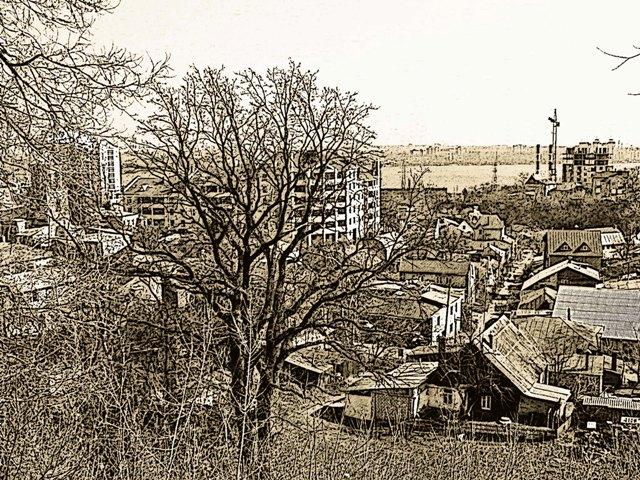 Городской пейзаж рисунок графика