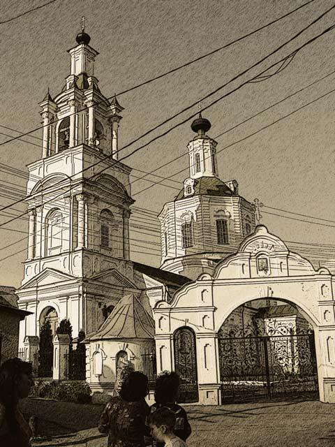 Церковь графический рисунок